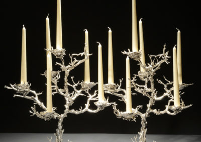 Two Nesting Coral Candleabras